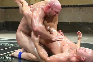"Hot muscled newbie Tatum ""The Beast"" takes on Eli ""The Hammer"" Hunter"