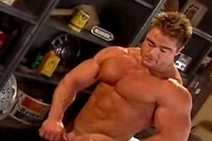 Gay with hot muscles gets excited touching his hard cock!