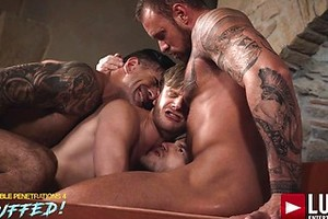 Adam Killian, Marq Daniels, Brian Bonds, Michael Roman. Raw Double-penetration